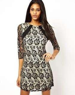 Little Mistress Contrast Lace Shift Dress in Black and Cream