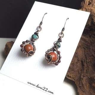 Jasper, African turquoise copper wire wrapped dainty handmade earrings. Orange blue earrings