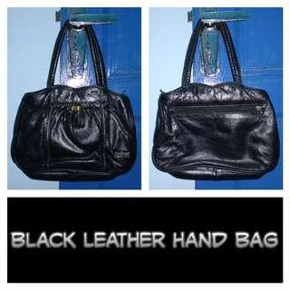 [Nego/barter] Black Leather Hand Bag Tas Tangan Jinjing Kulit Hitam