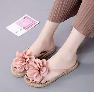 Soft Peach Flowery Women Sandals