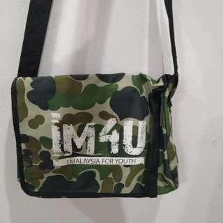 "Camo polyester 14"" sling bag 1M4U logo #Midsep50"