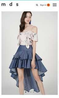 MDS Collections Asymmetrical Ruffled Skirt in Denim