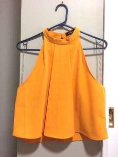 Glassons yellow halter neck top size 8
