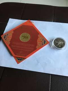 Spore 1997 Zodiac Sign Ox $10 UNC Proof-like Coin