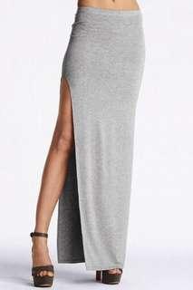 Grey Slit Maxi Skirt
