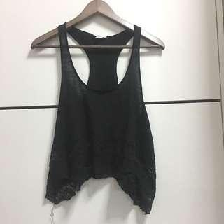 Black Razorback Lace Loose Top
