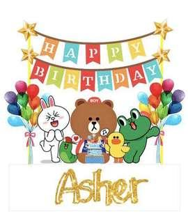 Line Characters Birthday Cake Topper Set