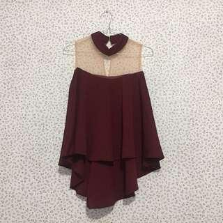 Maroon tile scuba top