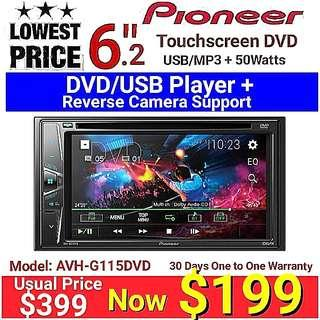 "Pionner 2018 Basic 6.2"" Touchscreen  DVD/USB Head Unit with Reverse Camera Support Ready. (model AVH-G115DVD) Usual Price :$399 Special: $199 (30 days One to One Exchange Warranty)"