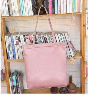 🚚 BN Soft Pink / Pastel Pink PU Leather Tote Bag (September Promo @$8)