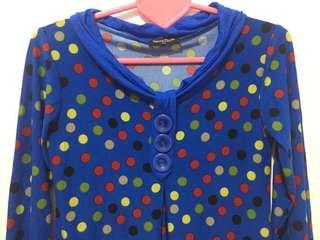 Blue Polka Dots 3/4 Top