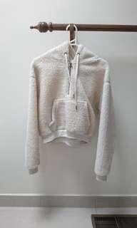 white cream teddy bear borg Sherpa o ring quarter zip hoodie jacket size xs fits 6-8