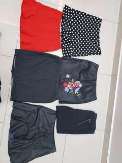 Women skirt x 5pcs + pantsx1pc