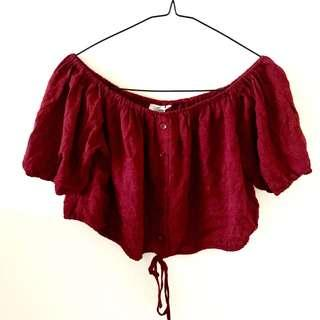 BNWT Red Button Up Off-Shoulder Top