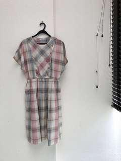 LazyQueens Vintage Day Dress in Pink and Beige Plaid
