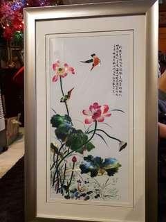 Chinese big embroidery  in thick wooden frame #1