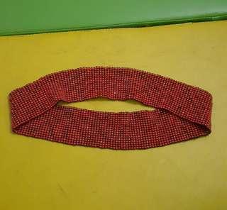 Ethnic elastic belt teracota