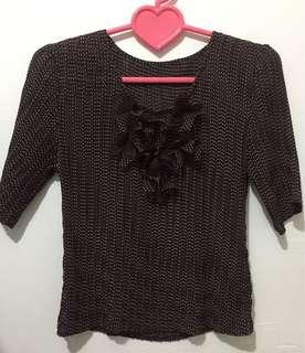 Dark Brown Polka Dots 3/4 Top
