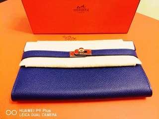 Hermes Kelly Long Wallet Electric Blue Epsom Leather Palladium Hardware