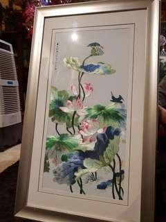 Chinese big embroidery  in thick wood frame #2
