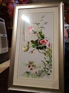 Chinese big embroidery in thick wood frame #3