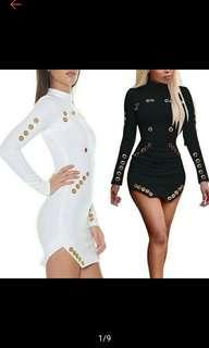Fashion Women Bandage Bodycon Long Sleeve Club Evening Party Short Mini Dress