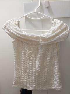 lily brown white lace top白色上衣