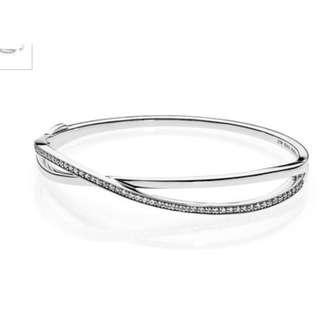PANDORA Entwined Clear CZ Bangle/ Bracelet #MAF40