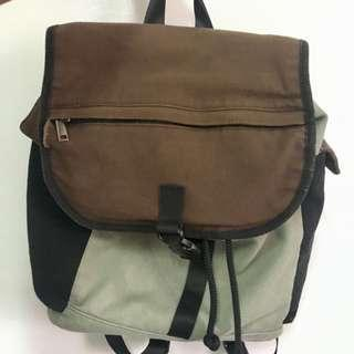 Green and brown backpack bag