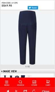 Uniqlo maternity cropped leggings pants n white n dark blue jeans
