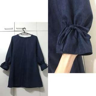 Tie Sleeve Navy Blue Swing Dress