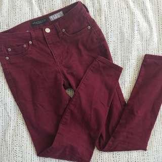 Maroon High Waisted Jegging