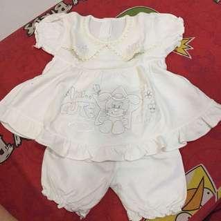 Baju bayi putih 3-6 bulan
