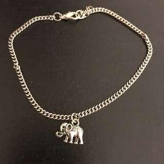 Silver elephant anklet