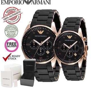 🚚 ✅ [INSTOCK] Genuine Emporio Armani Couple Watch AR5905 & AR5906 with EA Gift Box
