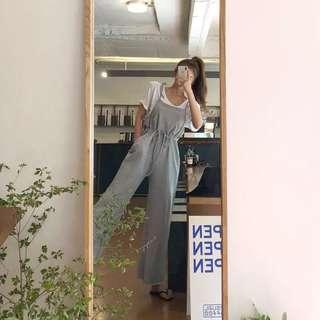 🚚 全新韓妞必備棉質吊帶休閒褲(黑,灰)