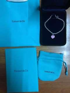 Tiffany&Co 經典粉紅心手鍊手鏈 Bracelet Necklace頸鍊頸鍊 M/L size