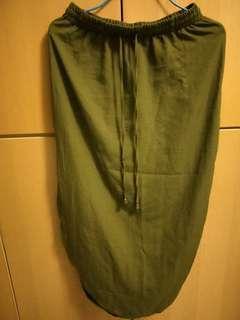 Army green slit skirt