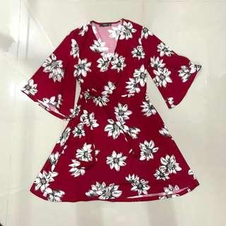 Mango Red Floral Sun Dress