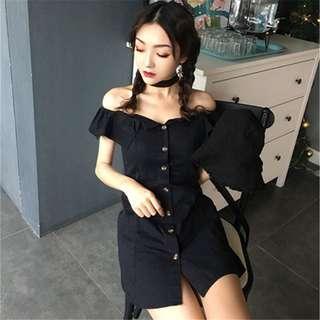 Black Button Down Off Shoulder Dress
