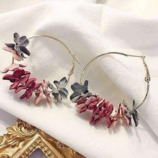BNIB Floral Hoop Earrings