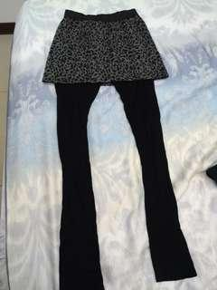 🚚 兩件式豹紋褲裙長褲內搭褲