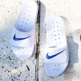 超抵價🤩 Nike Kawa Slider Shower 白色藍剔拖鞋