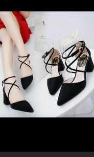 Preorder korean strappy chunky korean criss cross heels * waiting time around 15 days  after payment is made *pm if int