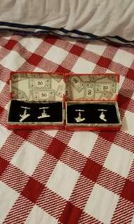 Two sets of Scarce original vintage 1994 Tonka Corps Waddingtons Monopoly silver plated boots and Battleships cufflinks never used