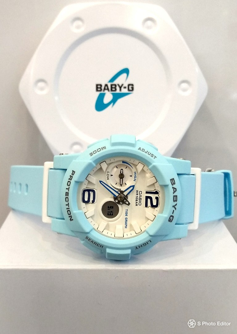 477f1d864a * FREE DELIVERY * Brand New 100% Authentic Casio BabyG Baby Blue & White  Lady's Casual Watch BGA-180BE-2ADR BGA180BE