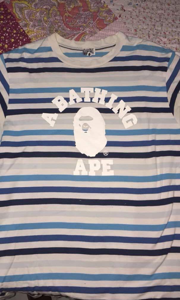 250916fd0 A bathing ape STRIPE SHIRT, Men's Fashion, Clothes, Tops on Carousell