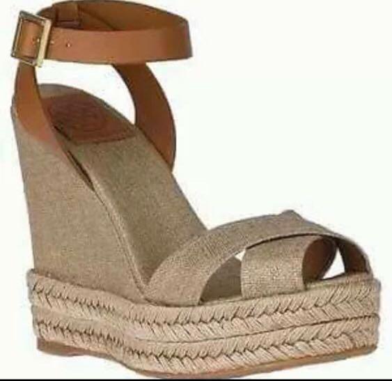 f3cc60aeb Authentic Tory Burch Fabian Leather Wedge Sandals