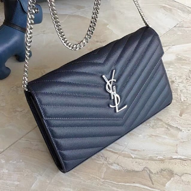 ffeeff70a072 Authentic YSL (Large) Dark Blue Wallet on Chain WOC Shw