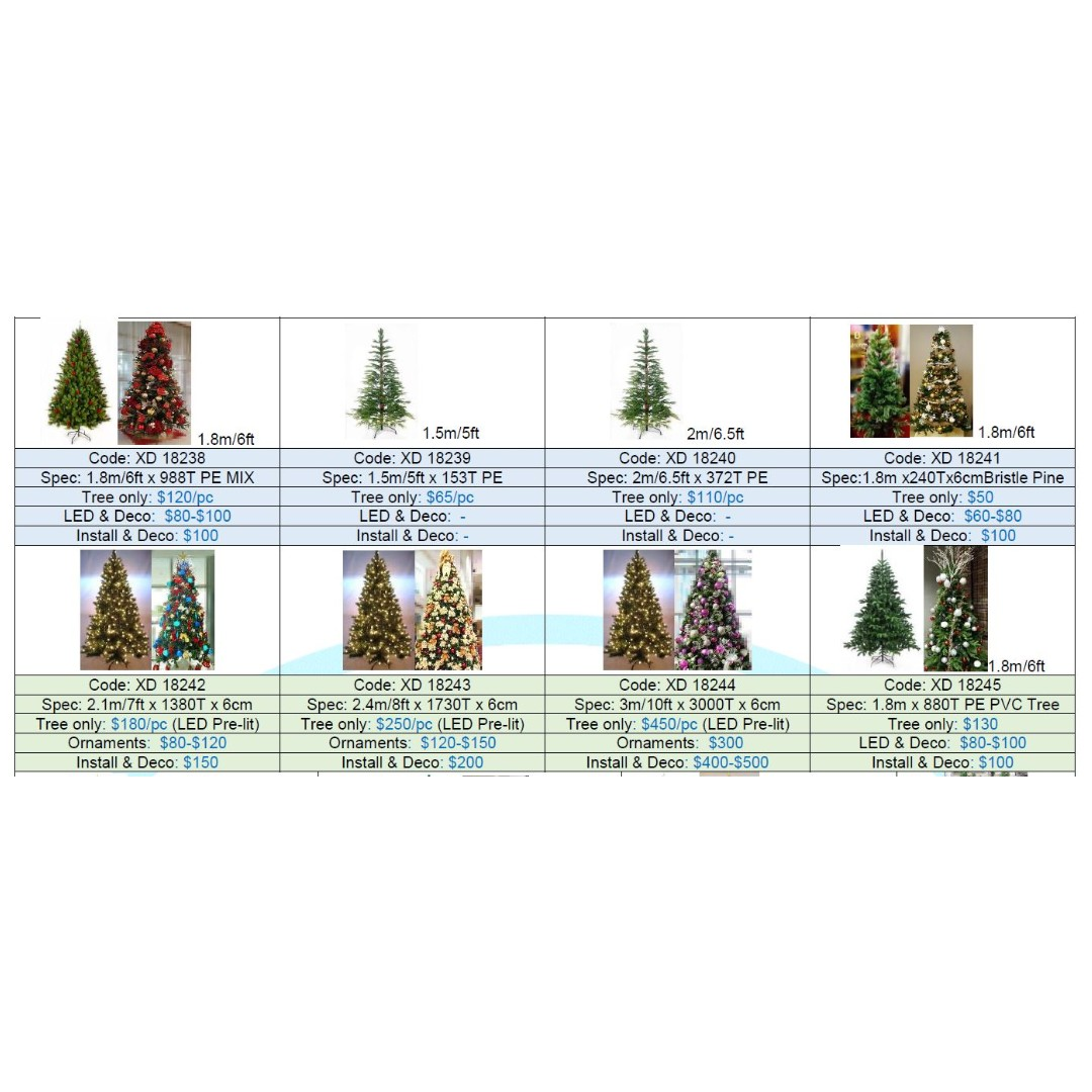 Christmas Decor Tree 1.5-3m Set Ornaments Lights +Install, Furniture ...